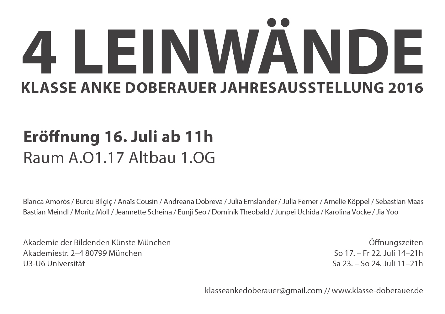 4 LEINWÄNDE. Exhibition